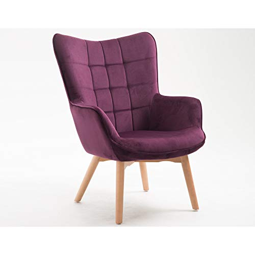 Yara Accent Chair in Plum with Tufted, Velvet Like Upholstery And Wood Legs, by Artum Hill