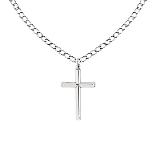 Ritastephens Men's Sterling Silver Large Tubular Cross Charm Necklace 24 Inches