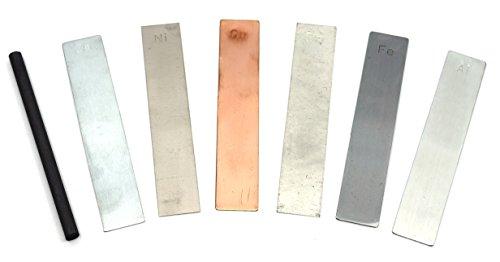 Metal Electrodes 7 Piece Set, Aluminium, Copper, Zinc, Nickel, Tin, Iron & Graphite - Eisco Labs ()