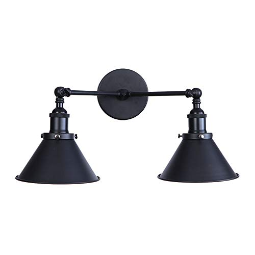 - ATC Black Wall Light Sconce 2-Light Arm Adjustable Funnel-Shaped Lampshade Vintage E27 Wall Lamp Retro Industrial Luminaire for Cafe Bar Loft Decor
