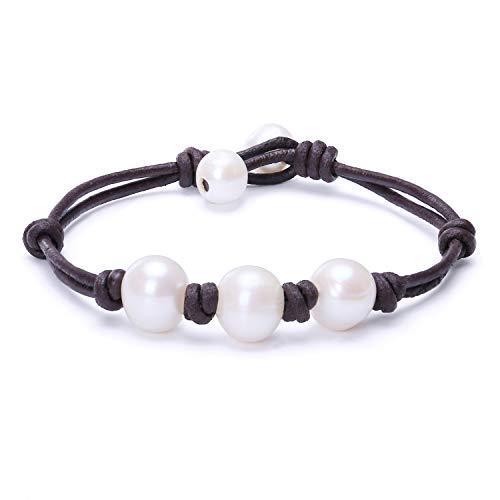 Cultured Freshwater Pearl Bracelet Womens Genuine Leather Cord Bangle Adjustable Handmade Beaded Jewelry