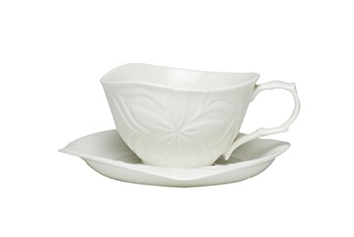 Red Vanilla Clematis White Tea Cup and Saucer Set, of 6, 8