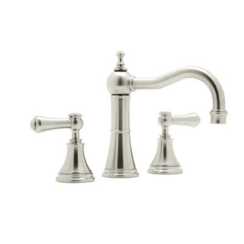 Rohl U.3723LSP-PN-2 Perrin and Rowe Georgian Era Column Spout Widespread Lavatory Faucet, Polished Nickel (Double Handle Rowe Lavatory)