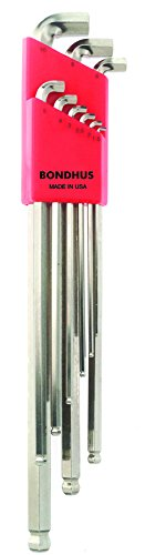Bondhus 16799 9 Piece Stubby Ball End Tip Hex Key L-Wrench Set with BriteGuard Finish, Long Arm -