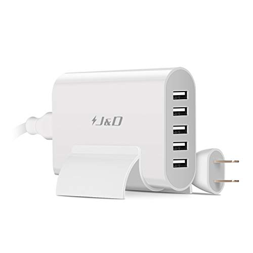 er, 40W Multi Port Travel Charging Station Wall Charger Universal AC Power Adapter with Free Detachable Desk Stand (5-Port, 40W) ()