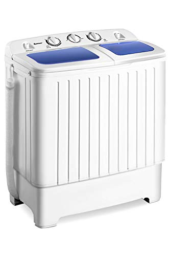 Giantex Portable Mini Compact Twin Tub Washing Machine 17.6lbs Washer Spain Spinner Portable Washing...