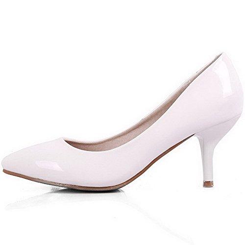Aalardom Kvinna Mjuk Material Fasta Kattunge-häl Pekade-toe Pumpar-shoes White-lackläder