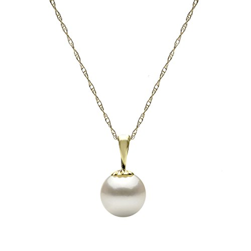 14K Yellow Gold 8-8.5mm White Freshwater Cultured High Luster Pearl Pendant Necklace (14k Gold Traditional Pendant)