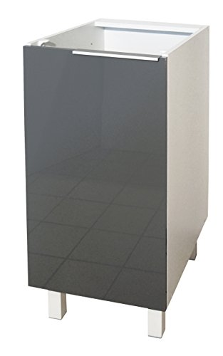 berlenus cp4bg k chenunterschrank 1 t r 40 cm hochglanz grau k chenausstattung. Black Bedroom Furniture Sets. Home Design Ideas