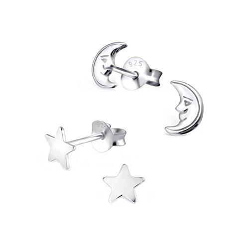 SL Silver Juego de kinderohr anillos Luna y estrella 925plata en caja de regalo