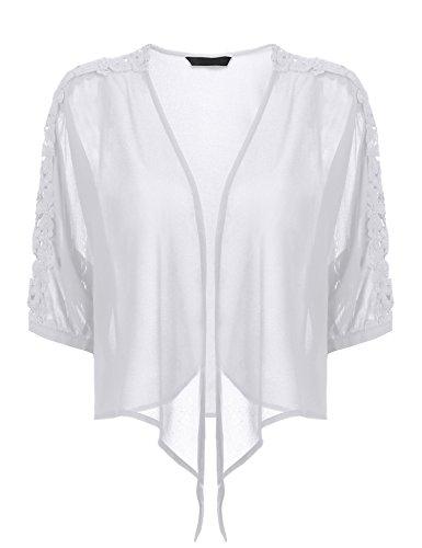 6a15ba46d19ff Grabsa Women s Half Sleeve Sheer Chiffon Bolero Shrug Tie Front Open Front  Cardigan