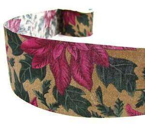 (5 Yd Christmas Poinsettia Glitter Craft Brown Ribbon 2 5/8
