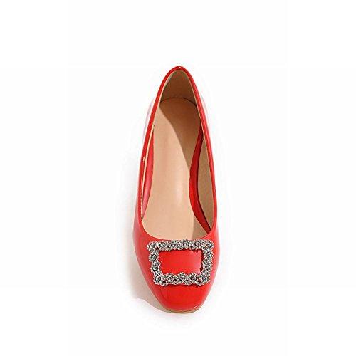 Charme Pied Femmes Confort Talon Bas Strass Bout Rond Pompe Chaussures Rouge