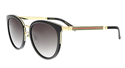 Gucci Design Sunglasses GG0077SK 001 Black Frame Gold Frame With Grey - Frame Sunglasses Round Gucci
