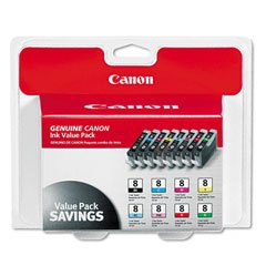 Canon CLI-8, 0620B015 (CLI8) Multipack OEM Genuine Inkjet/Ink Cartridge (One each: CLI-8BK,CLI-8C, CLI-8M, CLI-8Y, CLI-8R, CLI-8G, CLI-8PC, CLI-8PM) - Retail 8bk Black Inkjet