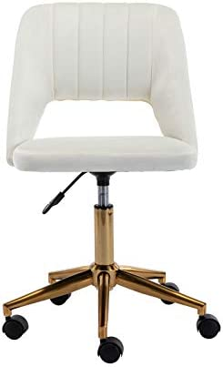 Guyou Upholstered Home Office Chair Hollow Out Back, Cute Armless Vanity Stool Adjustable Swivel Study Desk Chair with Brass Base, White