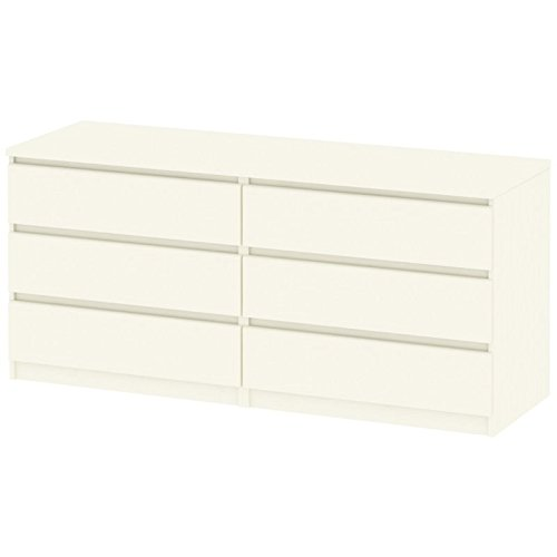 Tvilum 7029648 Scottsdale 6 Drawer Double Dresser, White Wood Grain (Scottsdale Stores Furniture Contemporary)