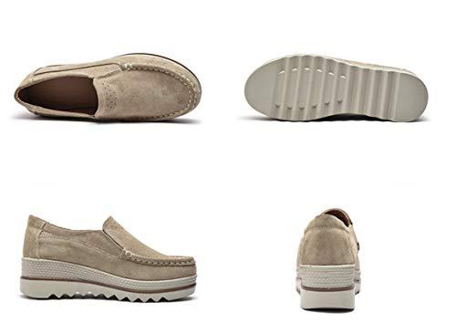 Bajos Mujer Marrón Mocasines Piel De Plataforma Ancho Tacón Plana Liangxie Con Cuña Ante Alto Comodidad Zapatos 1SIw8qgx