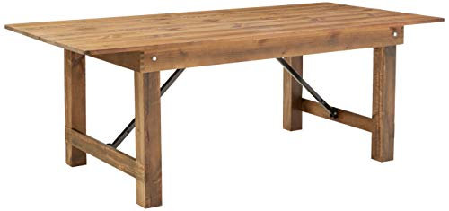 Flash Furniture HERCULES Series 7' x 40'' Antique Rustic Solid Pine Folding Farm Table (Table For Sale Wood Legs)