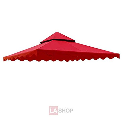 Superb 10x10 Feet Square Red Polyester Fabric Garden Canopy Gazebo Replacement Top Scallop Edge Two Tiers Waterproof UV Block Sun Shade Outdoor Patio Yard by LeeMas Inc