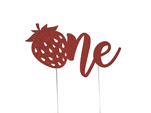 CMS Design Studio Handmade 1st First Birthday Cake Topper Decoration - Strawberry One - Made in USA with Double Sided Glitter - Shortcake Decorating Strawberry Cake