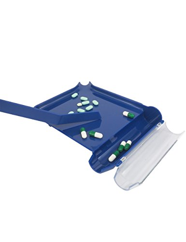 Pill Counter Tray - Left Hand Pill Counter Tray with Spatula (Blue)