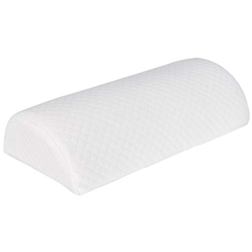 Memory Cotton Half Moon Bolster Semi-Roll Pillow - Ankle and Knee Support - Leg Elevation - Back, Lumbar, Neck Pain Relief - Pad for Side and Stomach Sleepers - Premium Slow Rebound Memor Foam (White) ()