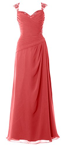 MACloth Women Cap Sleeves Long Mother of Bride Dress Open Back Party Formal Gown Wassermelone A9BvGoz1