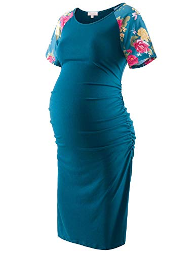 Floral Maternity Bodycon Dress Short Sleeve Baseball Raglan Ruched Side Knee Length Teal with Floral Sleeves XL]()