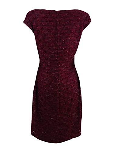 Donne Collegate Bordeaux Delle Merletto Vestito Drappeggiato aRISqwXq1