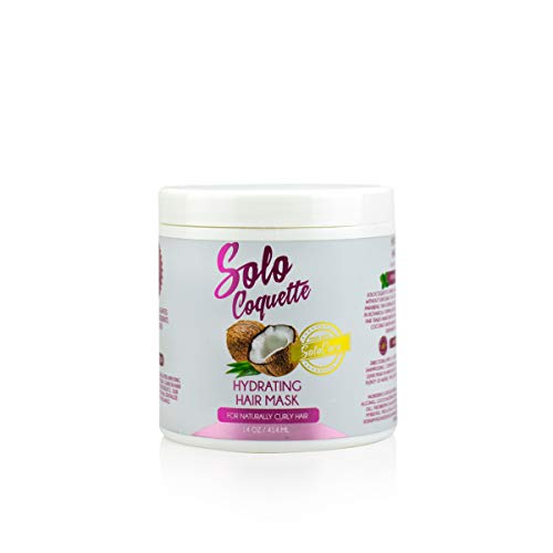 Hydrating Hair Mask & Deep Conditioner for Dry, Thirsty Curls by SoloCoquette | 100% Natural, Sulfate, Silicone, Salt FREE. Deep treatment seals in moisture & repairs damage with Organic Oils 14floz