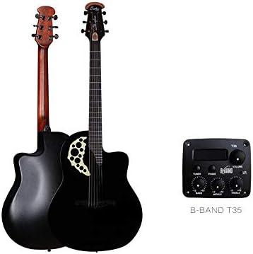 ギター 初心者入門 ギター フォークエレクトリックボックスギターベニヤブドウホールラウンド戻る41インチのアコースティックアコースティックギター 小学生 大人用 ギター初級 (Color : Black, Size : 41 inches)