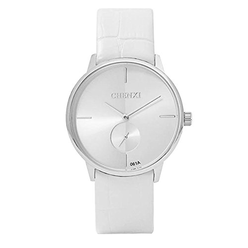 Dress Lovers Leather Quartz Analog Ultra-Thin Dial Sub-Dial Wrist Watch White For ()