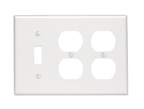 Duplex Outlet Triple Toggle Switchplate - Leviton 88047 3-Gang 1-Toggle 2-Duplex Device Combination Wallplate, Standard Size, Thermoset, Device Mount, White