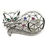 Multi-Color Austrian Rhinestone Silver-Tone Kitty Cat Brooch Pin