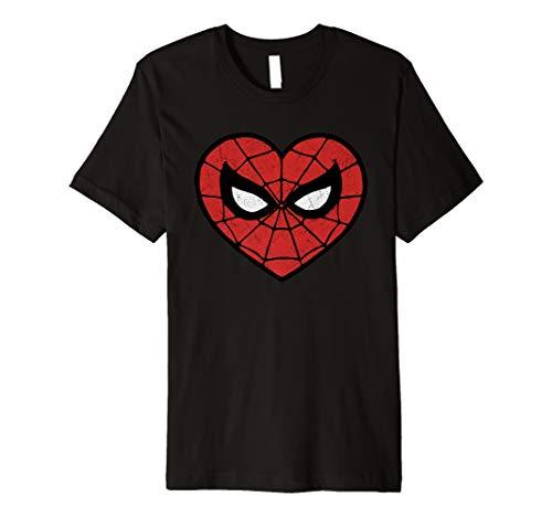 (Marvel Spider-Man Valentine's Web Heart Logo Premium T-Shirt)