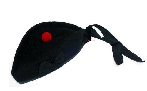 Glengarry chapeau noir simple option de taille 59 (UK 7 1 4) (US 7 3 8)