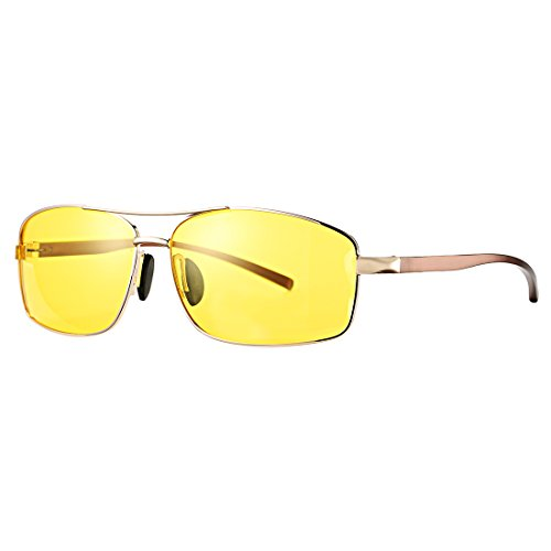 COASION HD Polarized Night Vision Driving Glasses Large Metal Frame Yellow Lens Sunglasses Anti Glare Eyewear for Men Women (Amazon - Amazon Glasses Frames