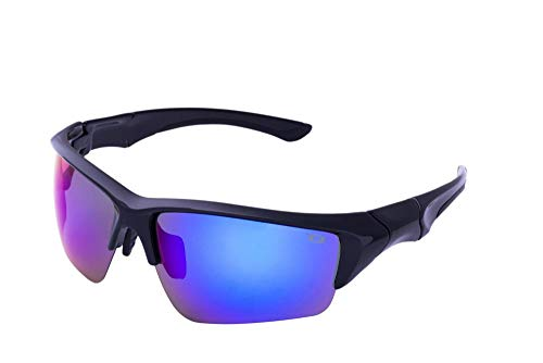 Clear Lake Beewa Men's Sports Fishing Sunglasses Black Frame Polarized Blue Mirror Lenses