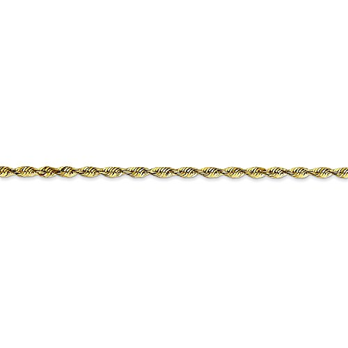 10k White Gold 2mm Rope Chain Bracelet 8inch by Diamond2Deal