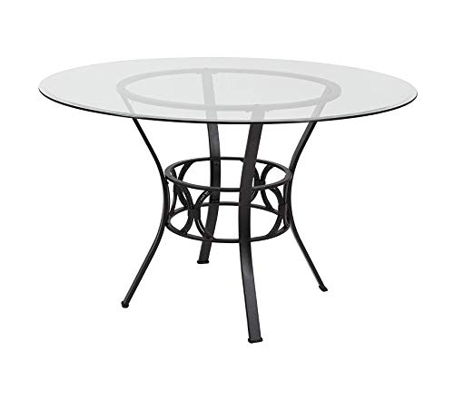 Office Home Furniture Premium Carlisle 48'' Round Glass Dining Table with Black Metal Frame