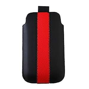 Prima muy pu funda de piel para iPhone 3G/4G (negro y rojo)
