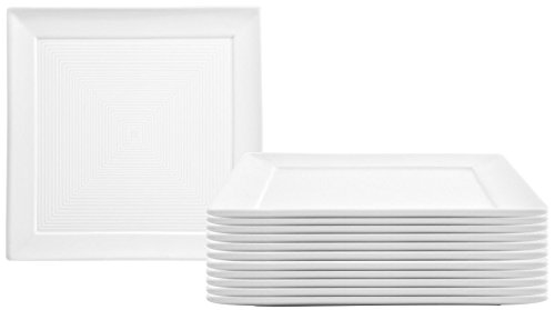 Front of the House DSP027WHP23 spiral Square Plate, 7.5'' width, 7.5'' Length, Porcelain (Pack of 12) by Front Of The House