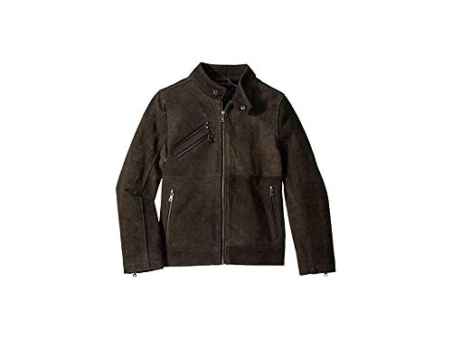 Urban Republic Kids Boy's Cow Suede Leather Jacket (Little Kids/Big Kids) Charcoal 10/12