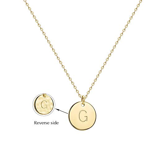 Befettly Initial Necklace Pendant 14K Gold-Plated Round Disc Double Side Engraved Hammered Choker Necklace 16.5'' Adjustable Personalized Alphabet Letter Pendant G (Gold Initial Disc Pendant)