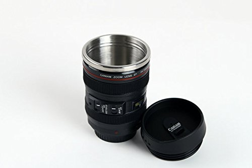 Elite Kitchen Gear Self Stirring Camera Lens Travel and Stainless Steel Novelty Coffee Cup Mug with Lid, Replica of Canon EF 24-105 mm Lens, 11 oz