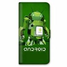 Leather flip case Samsung Galaxy S6 Edge apple vs android - robot B