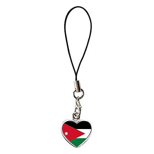 Heart Dangle Phone Charm - GiftJewelryShop Silver Plated Jordan Flag Flower Photo Dangle Heart Strap Hanging Chain for Phone Cell Phone Charm
