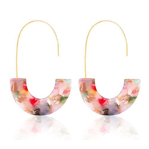 MOLOCH Acrylic Earrings Statement Tortoise Hoop Earrings Resin Wire Drop Dangle Earrings Fashion Jewelry for Women (Floral) (Colorful Earrings)