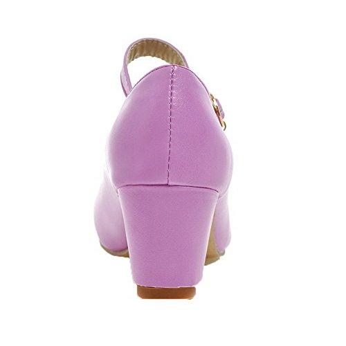 Cuir Couleur Talon Tire Unie Rond Violet Odomolor PU Chaussures Légeres Femme Correct à anHqSXYq